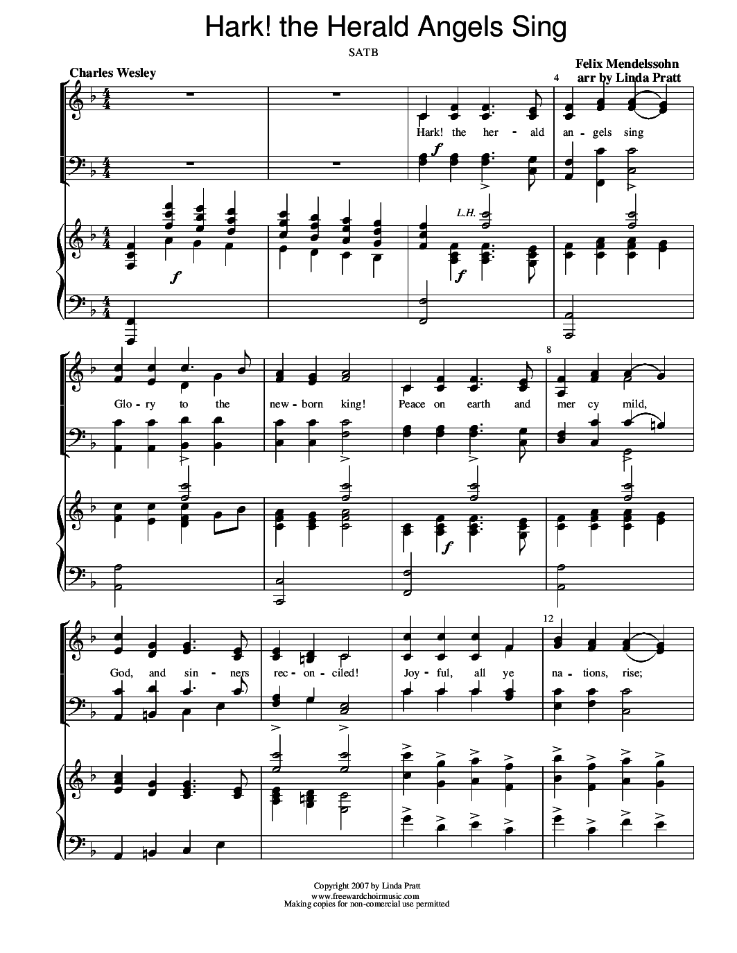 Hark The Herald Angels Sing Piano Sheet Music Erkal