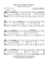 Did You Think to Pray?  Simplified piano solo