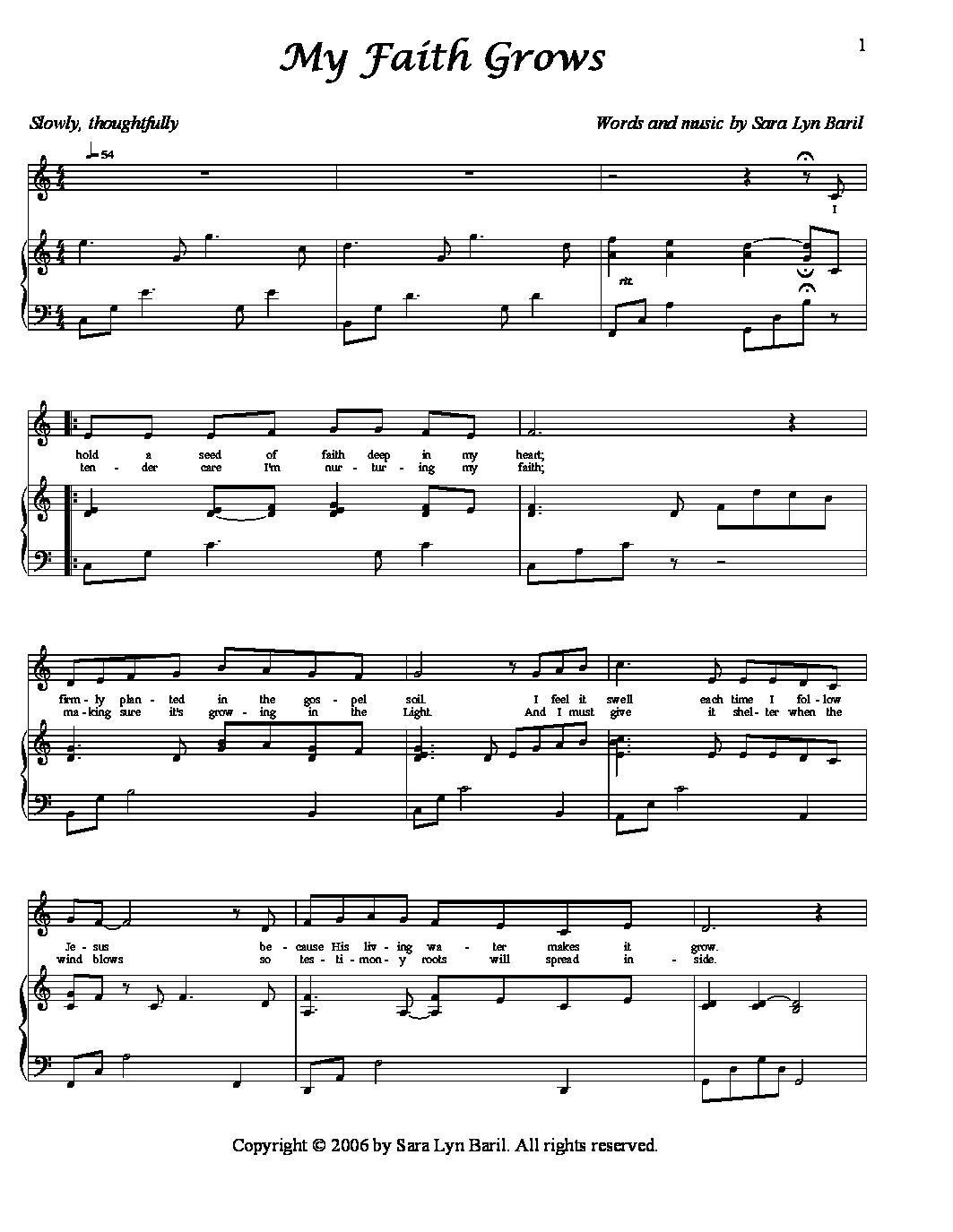 song of healing sheet music pdf