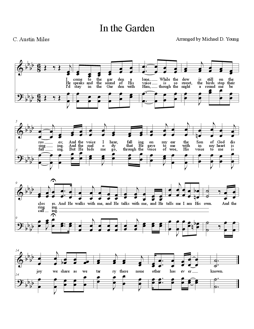 In the Garden by Michael D Young SATB