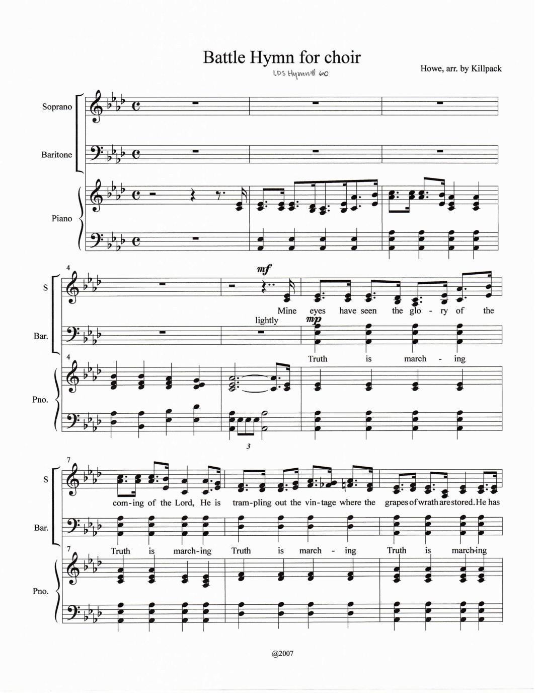 Battle Hymn of the Republic (William Steffe) - ChoralWiki