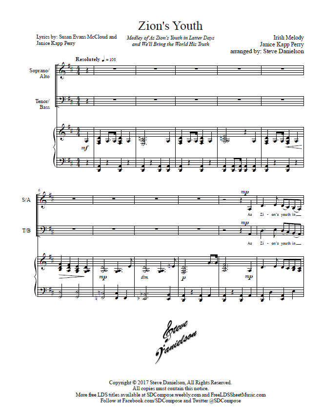 Zion's Youth (by Steve Danielson -- SAB, Youth Choir Mixed